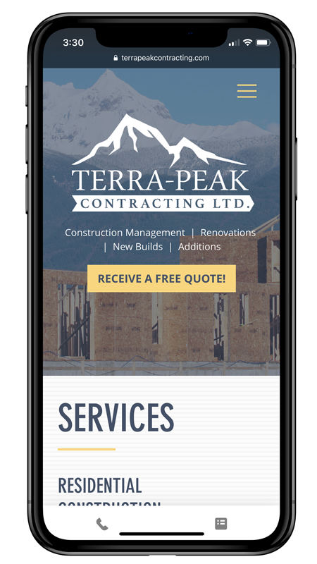 Terra-Peak Contracting LTD. responsive web design for mobile friendly website. Designed by Dynamic Local, an all in one design agency.