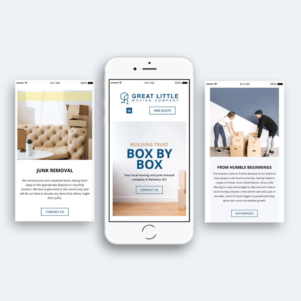 great little moving company mobile website design in iphone display. Designed by dynamic local.
