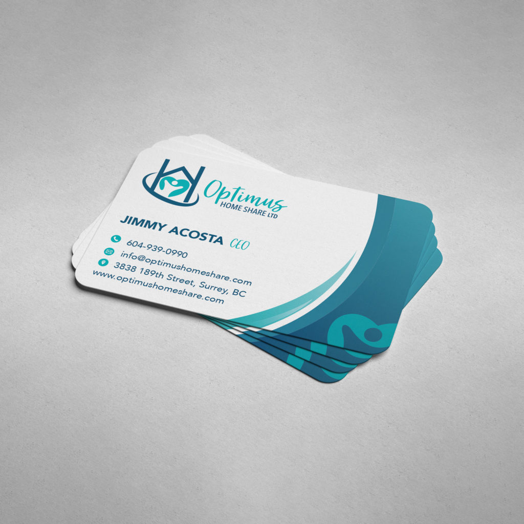 Optimus home share ltd blue and white business cards designed by dynamic local.